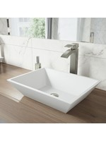 *White Stone Rectangular Vessal Bathroom Sink