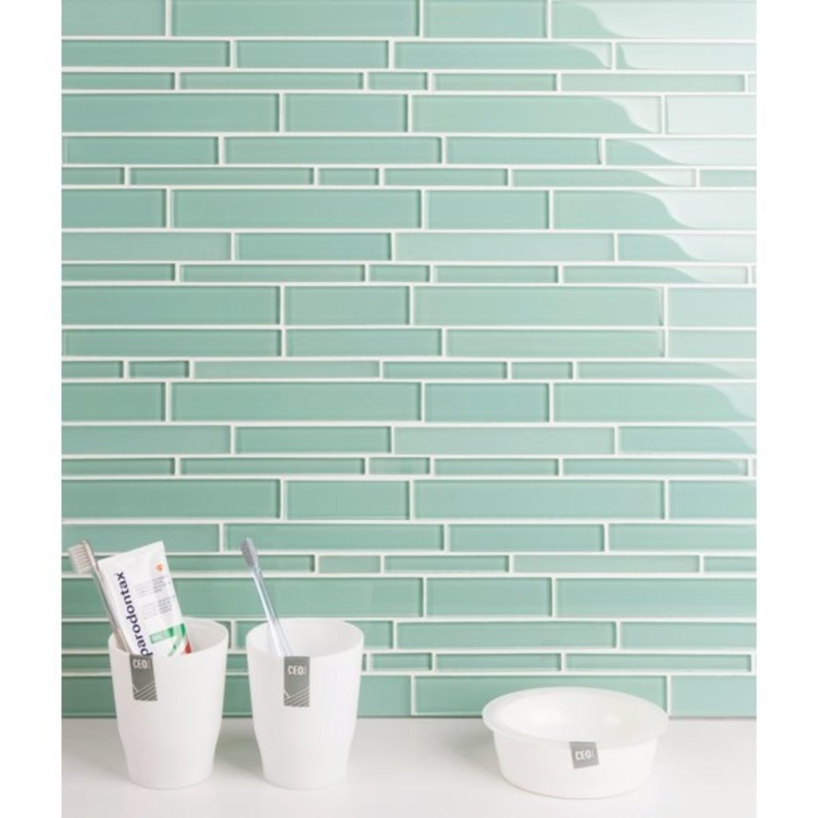 *Premium Random Sized Glass Mosaic Tile - Light Teal - 5 sq ft - Final Sale