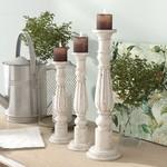 *3 Piece Wood Candlestick Set - White