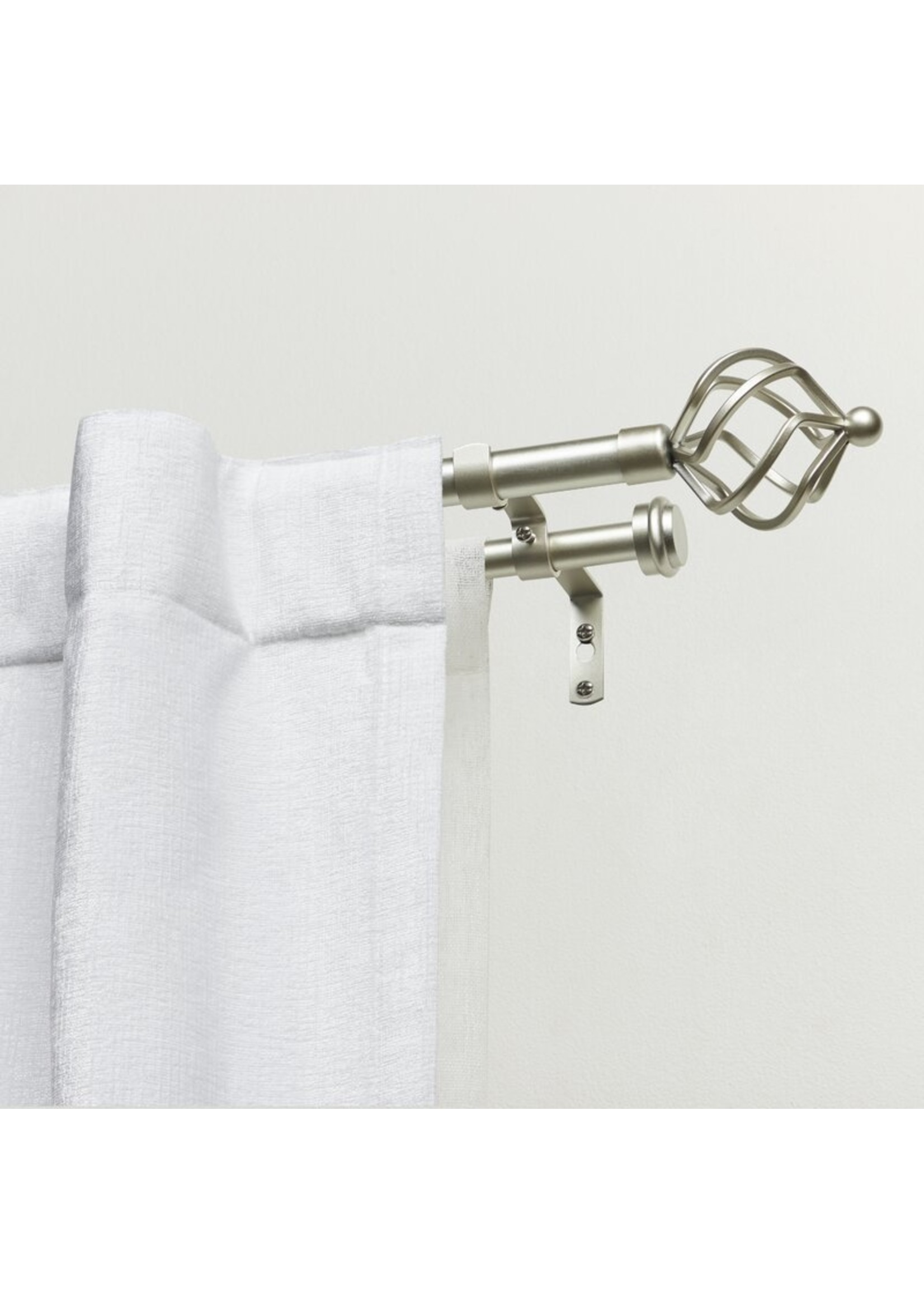 "*66""-120"" - Kamath Drapery Double Curtain Rod and Hardware Set - Matte Silver"