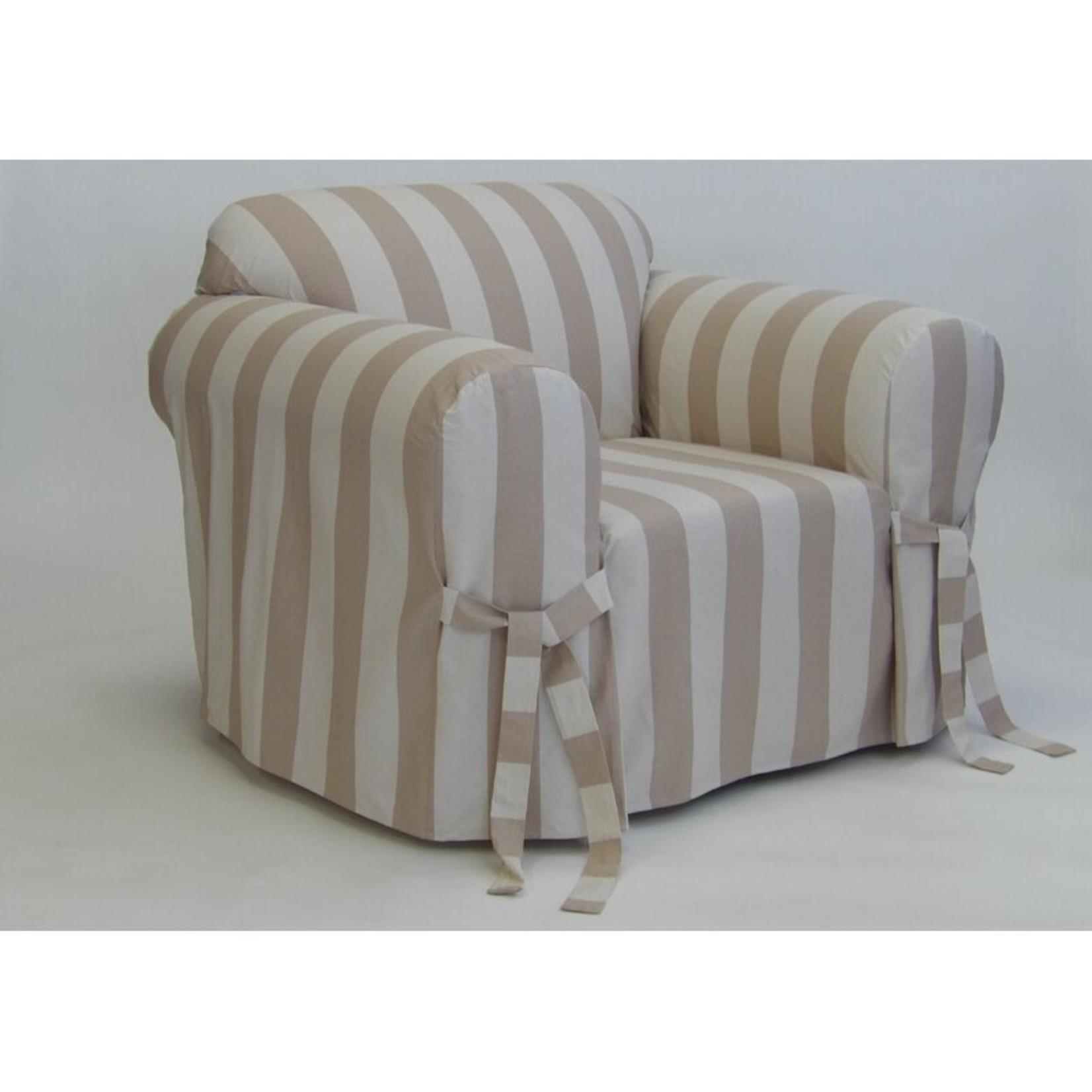 *Stripe Box Cushion Armchair Slipcover - Taupe/Cream