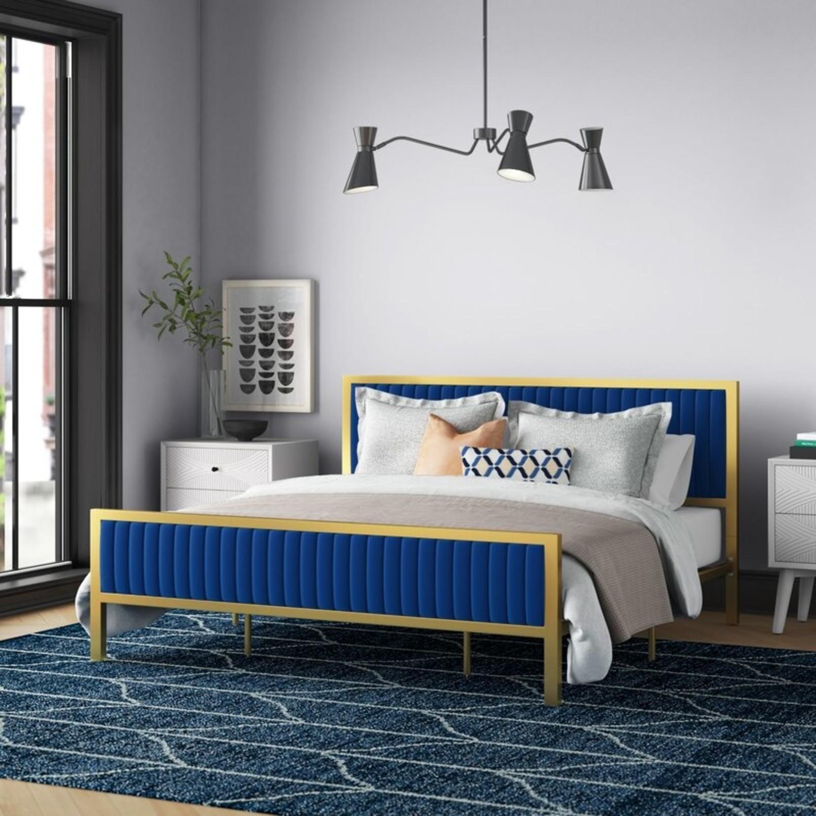*Queen - Kinzie Tufted Upholstered Standard Bed - Navy