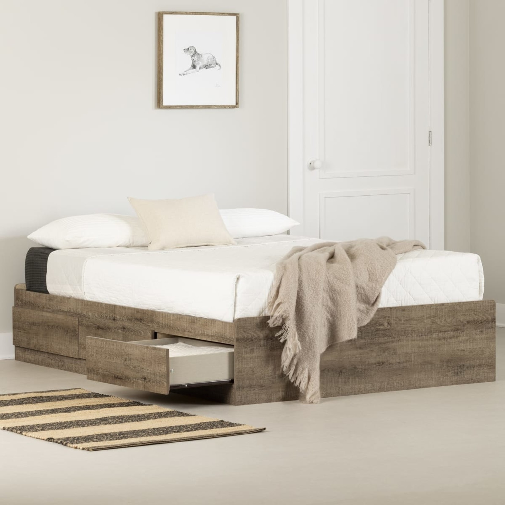 *Full - Arlen Mates Bed With 3 Drawers - Grey
