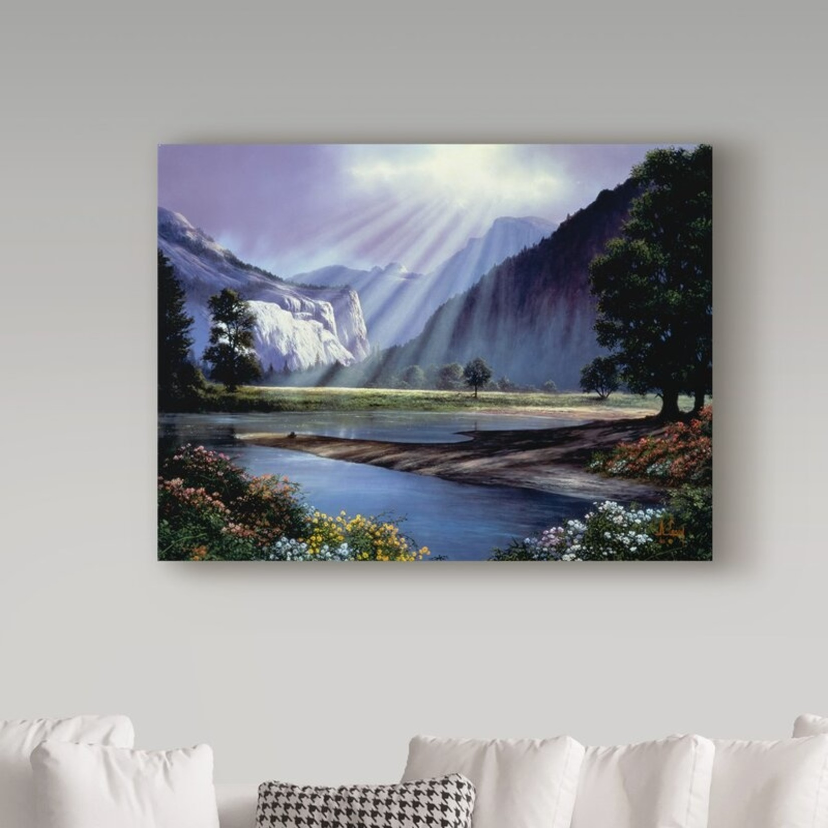 *Light Over Mountain Scene' Oil Painting Print on Wrapped Canvas