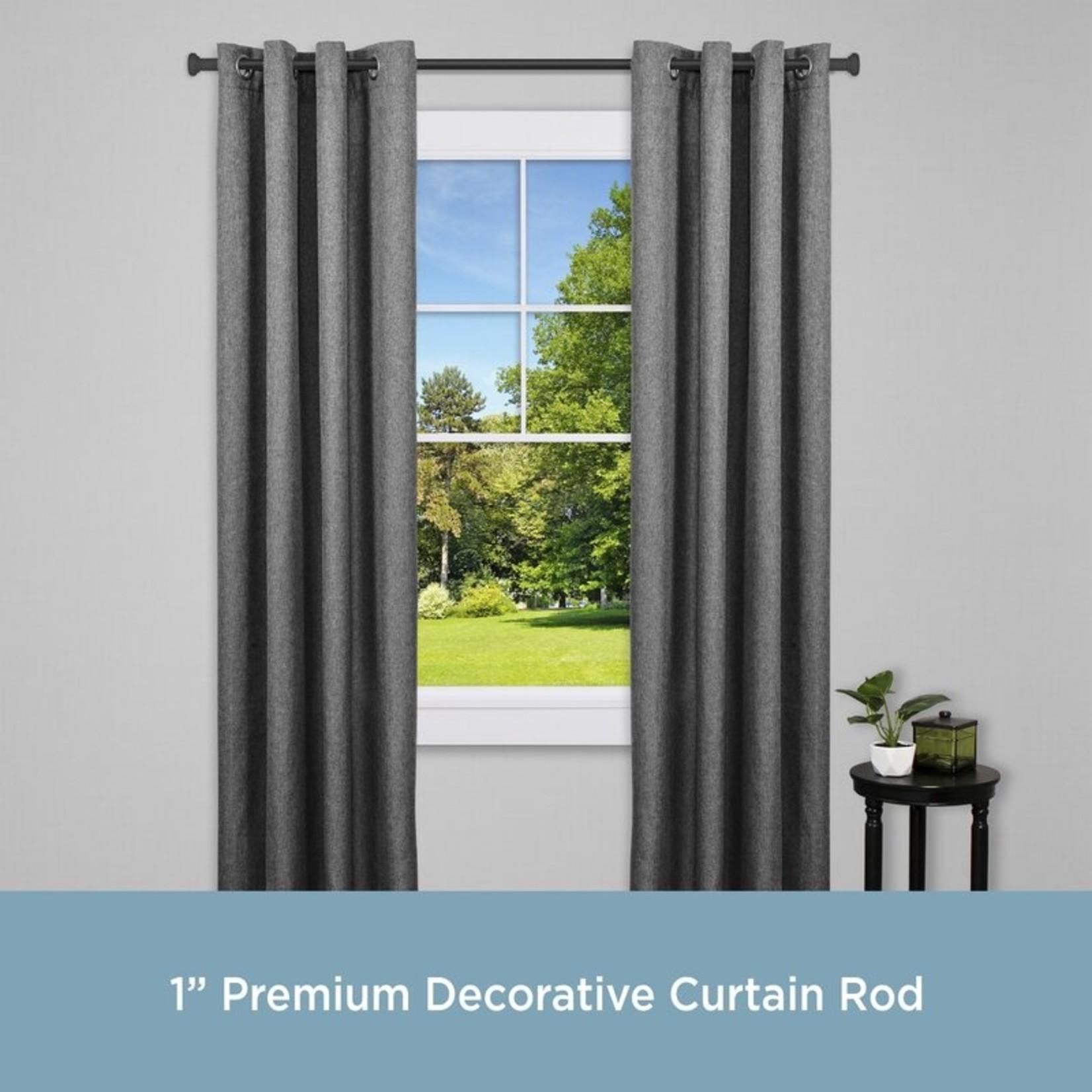 "*48""-86"" - Tillman Adjustable 1"" Single Curtain Rod - Black"