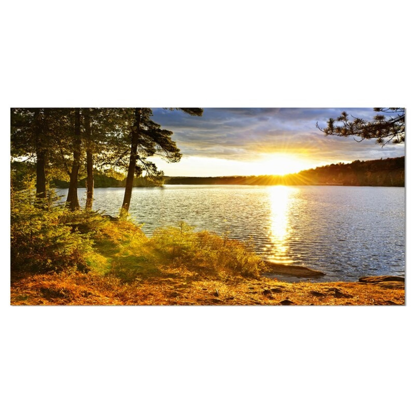 """*16"""" x 32"""" - 'Beautiful View of Sunset over Lake' Photographic Print on Wrapped Canvas"""