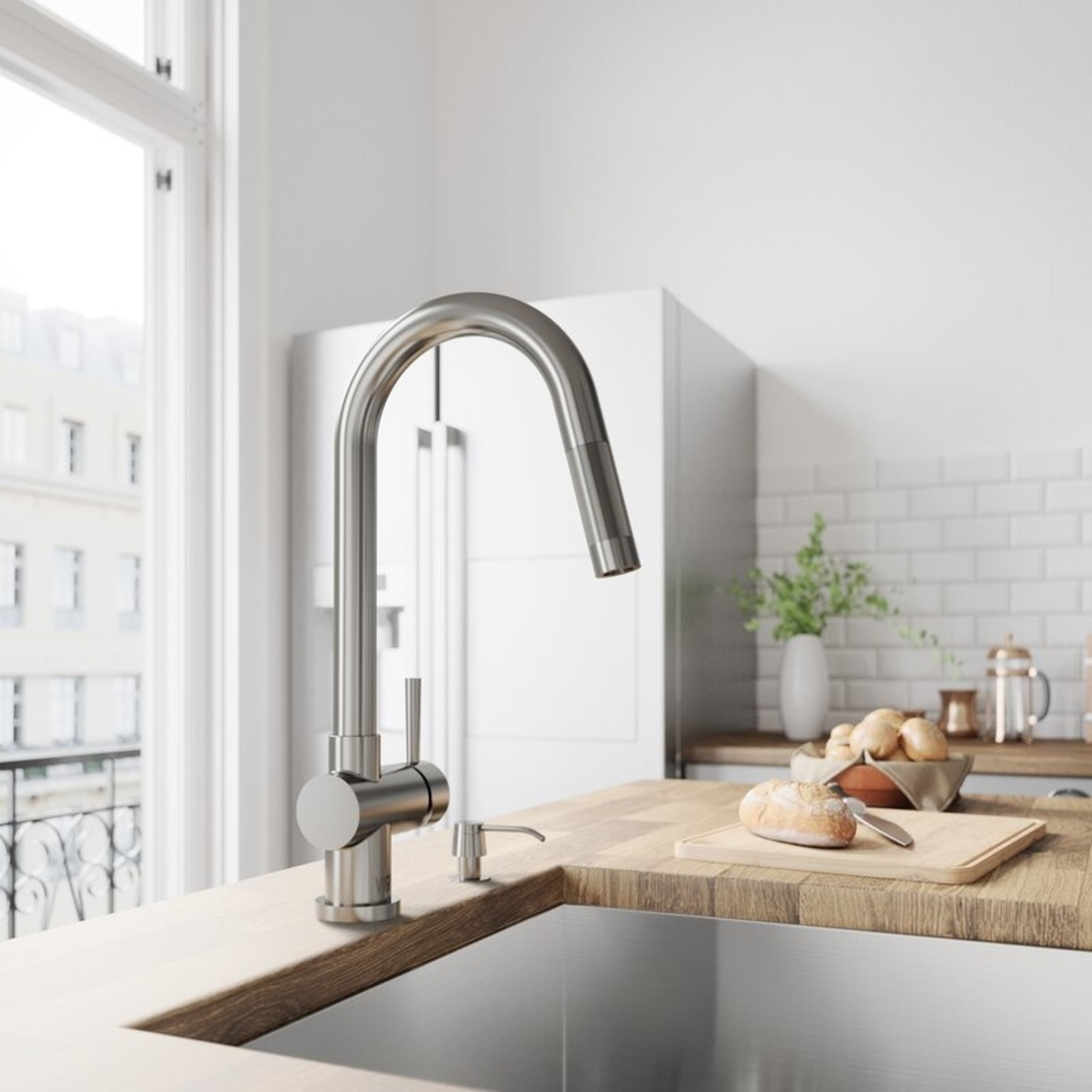 *Gramercy Pull Down Single Handle Kitchen Faucet with Optional Soap Dispenser