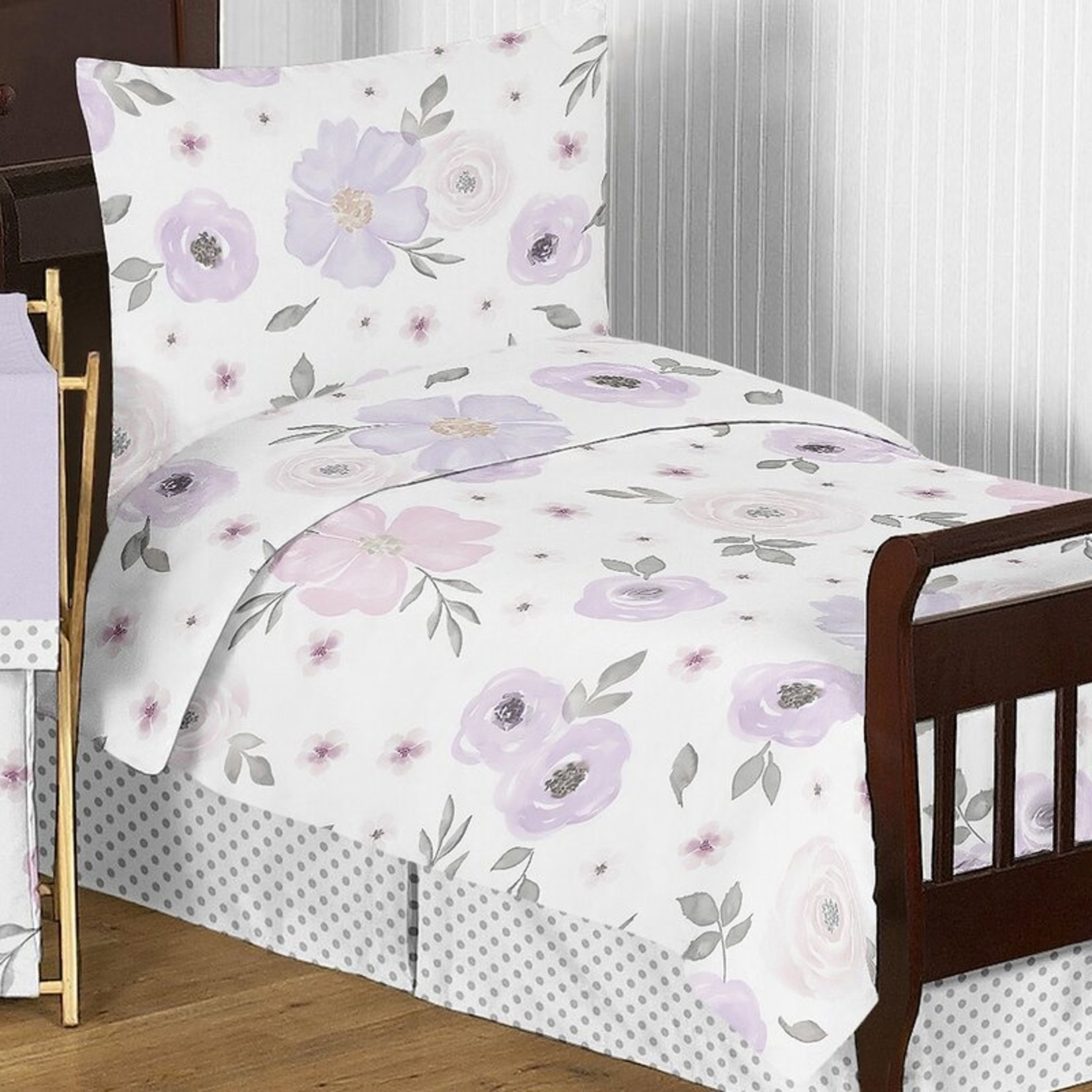 *Watercolor Floral 5 Piece Toddler Bedding Set - Final Sale
