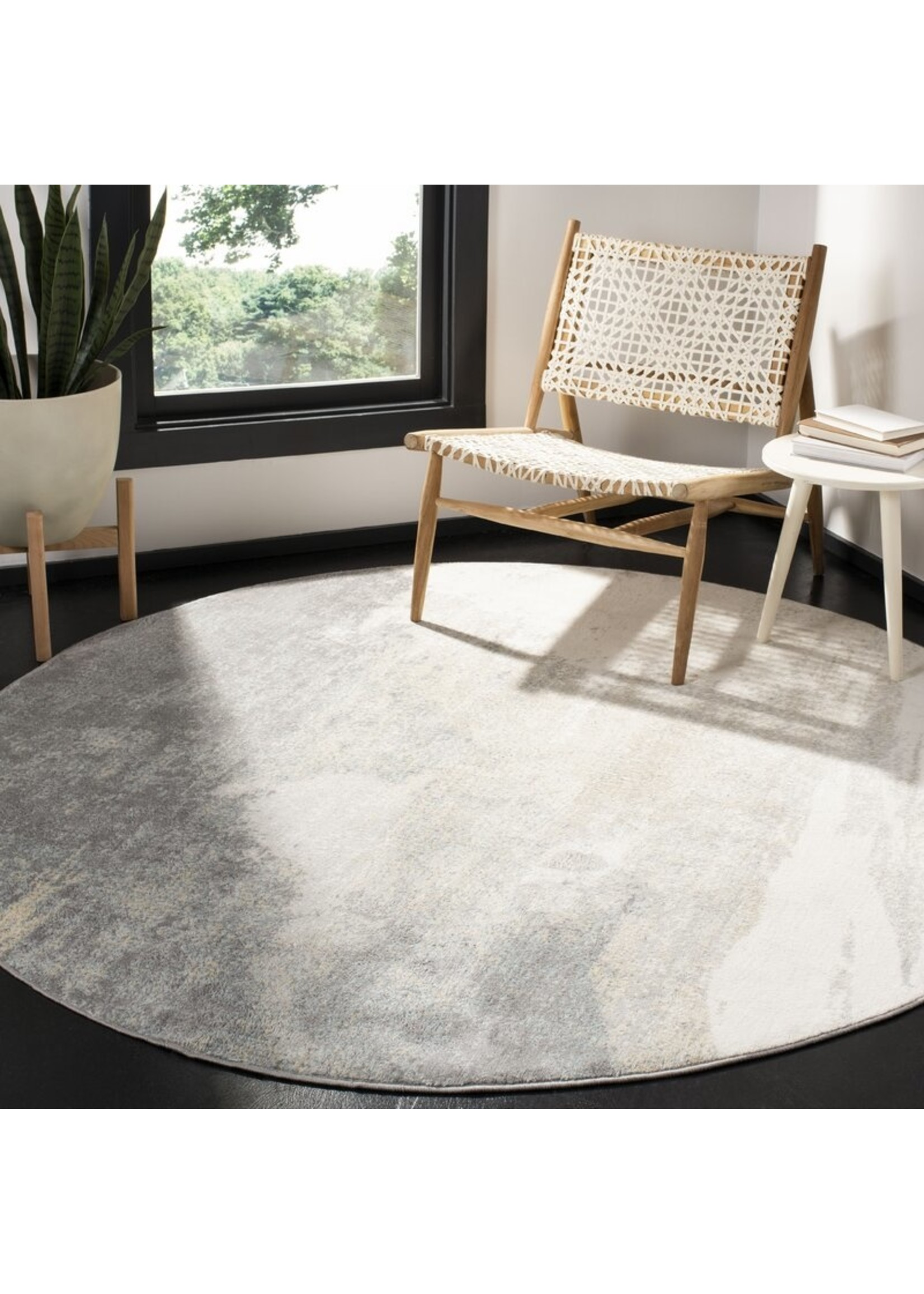 *5' Round - Muro Abstract Grey/Gold/Blue Area Rug
