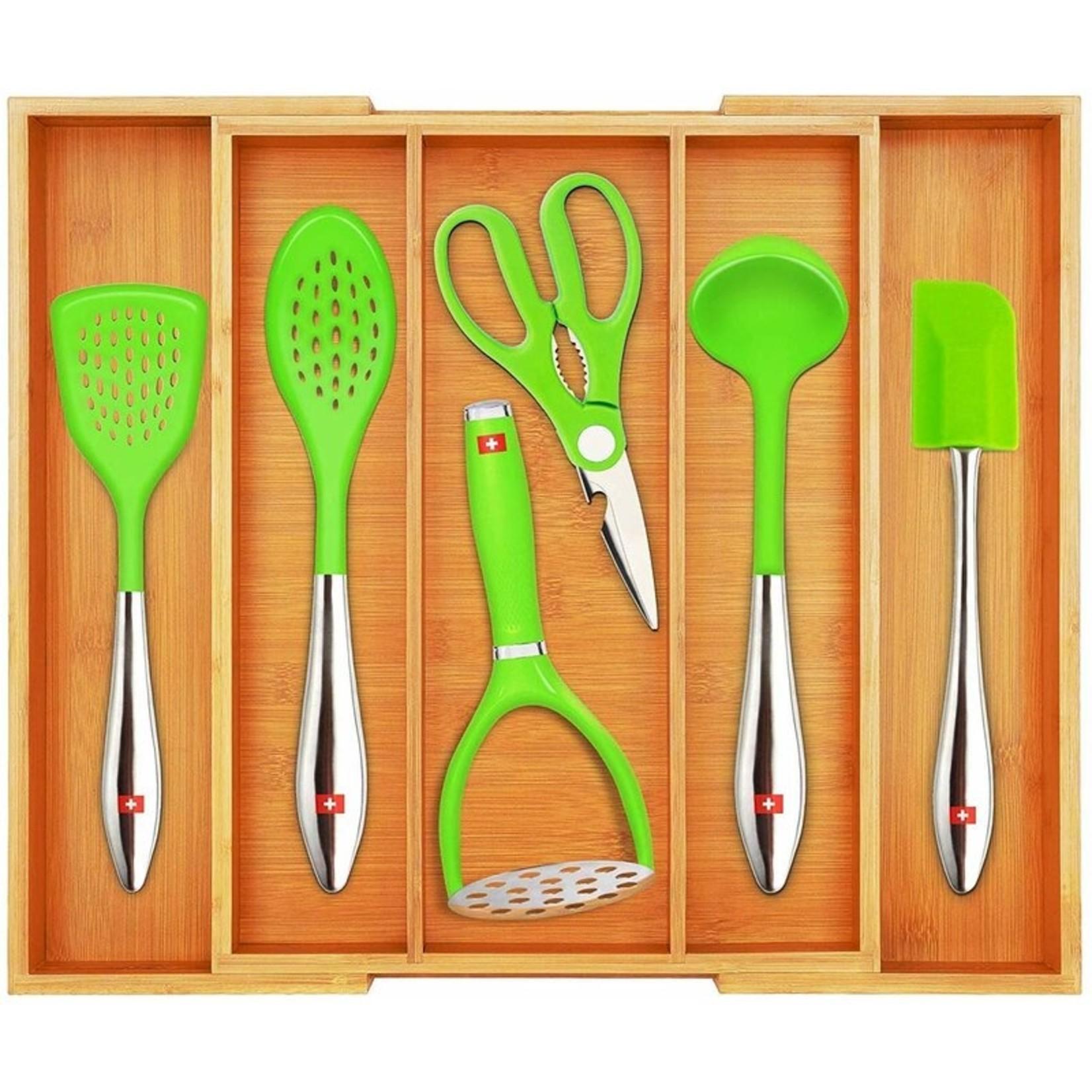"*2.5""H x13""- 23""W x 18""D Drawer Organizer - Bamboo"