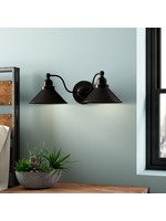 *Euclid 2-Light Dimmable Mission Dust Bronze Armed Sconce