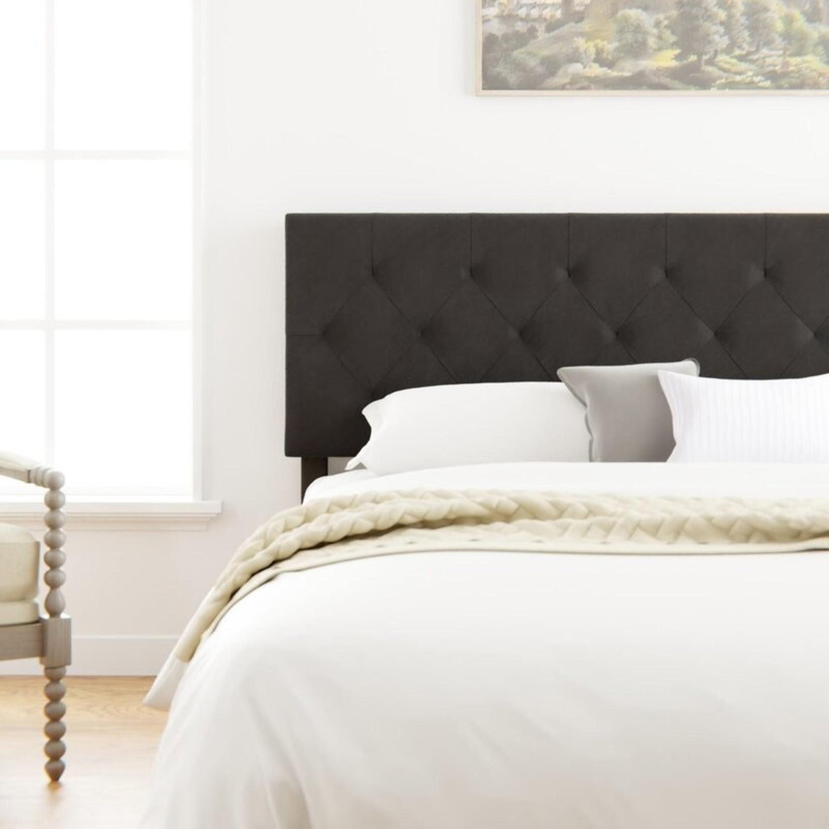 *Full - Velvet Upholstered Panel Headboard - Black