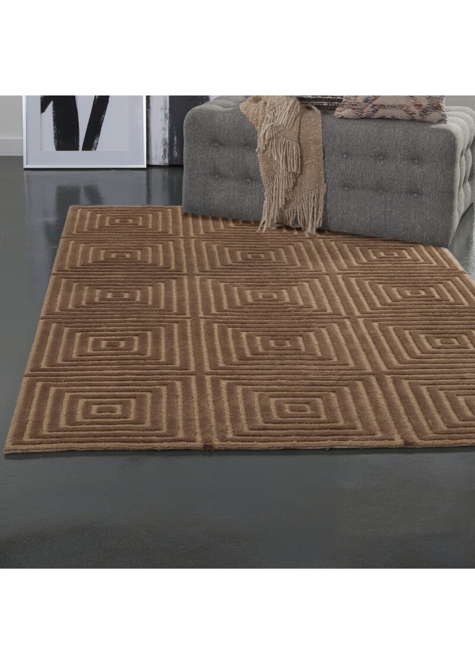 *8' x 10' - Tawney Geometric Hand-Knotted Wool Gold/Brown Area Rug