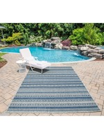 *3'3 x 5' - Tuscany Striped Demin Blue/Tan Indoor/Outdoor Area Rug