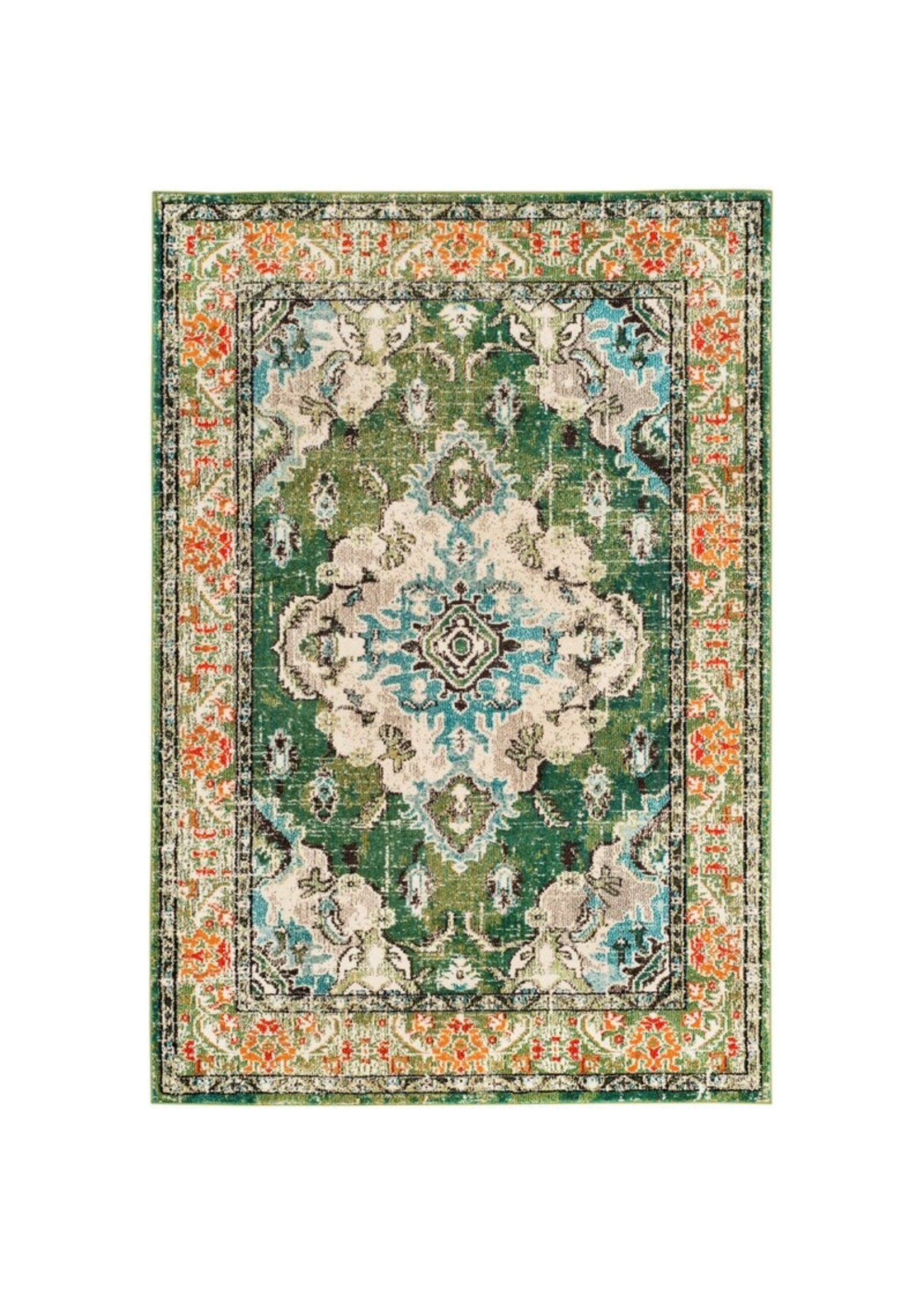 *10' x 14' -Indira Oriental Green/Light Blue Area Rug