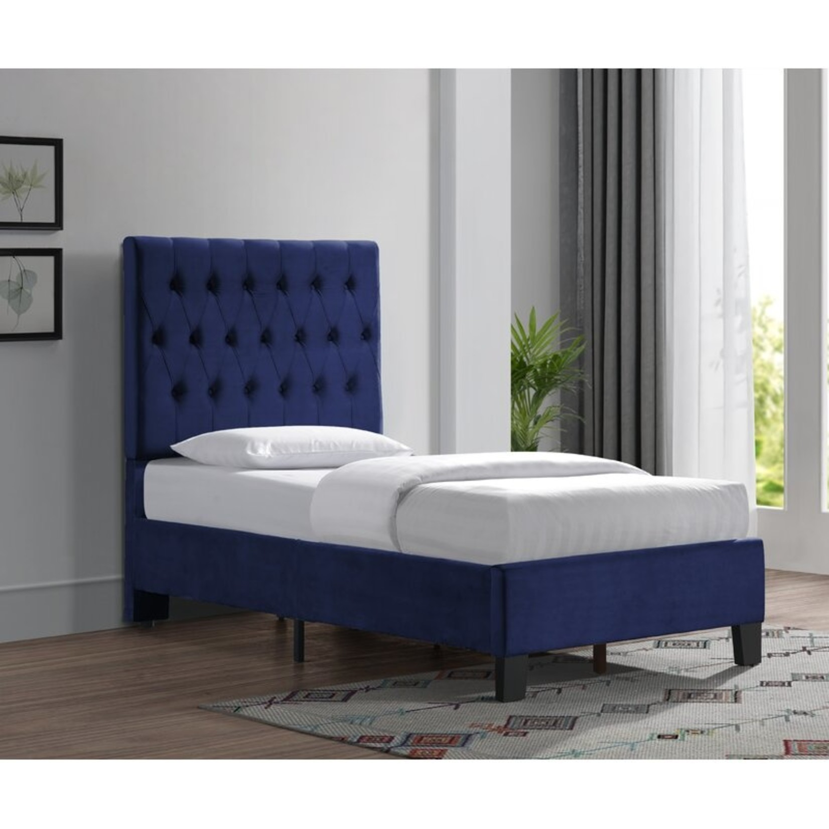 *Twin - Kayden Tufted Upholstered Low Profile Standard Bed