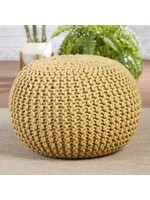 *Kylie Pouf Indoor Outdoor Ottoman with Cushion - Yellow