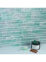 *Foil Random Sized Glass Linear Mosaic Tile - Silver/Aqua Blue