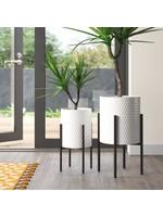 *Aiken 2 - Piece Iron Pot Planter Set - White