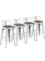 *Hartz Solid Wood Seat Bar Stool - Set of 4 - White