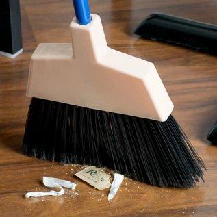 "10"" Angled Broom with Black Flagged Bristles and 45 1/4"" Handle"