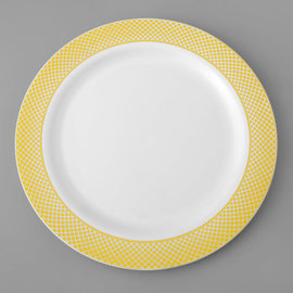 """MISC 10"""" White Plastic Plate with Gold Lattice Design 12 PACK"""