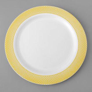 "7"" White Plastic Plate with Gold Lattice Design - 15/Pack"