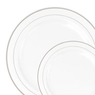 """Chinaware Collection White/Silver 9"""" Lunch Plates 10 Count"""