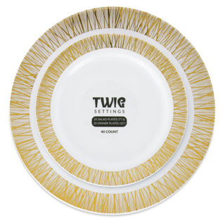 Bluesky Disposable Gold Twig 10″ & 7″ Plate Combo Pack (40 Count)