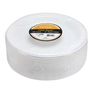 """MISC 9"""" Plastic White Dinner Plates Bulk Pack - 100 Ct"""