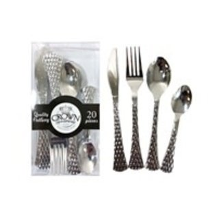 MISC Pebbled Silver Disposable Cutlery Combo Pack- 20 Ct