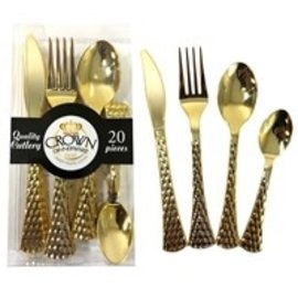 crown Pebbled Gold Disposable Cutlery Silverware Combo Pack- 20 Ct