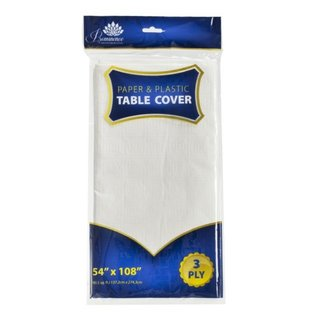 MISC 3 Ply White Paper/Plastic Tablecover 54″x108″ (1 Count)
