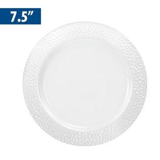 """White Pebbled Rim Fancy Dessert Plate 7.5"""" - 10 Pack"""