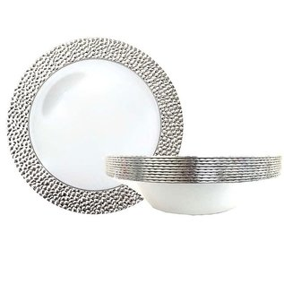 Royal Collection Silver Rim Hammered Soup Bowls 12 Oz- 10 Pack