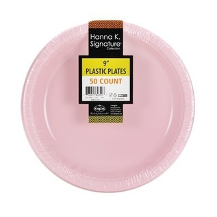 """Pink Plastic Plates 9"""" - 50 Count"""