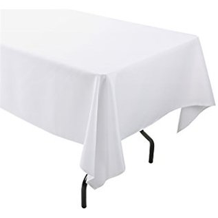 """MISC Disposable Plastic Tablecloth- White ( Rectangle 54"""" x 108"""")"""