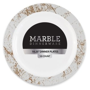 """MISC Disposable Marble Collection Silver 10"""" Salad Plates (10 Count)"""