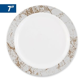 MISC Disposable Marble Collection Silver 7″ Salad Plates (10 Count)