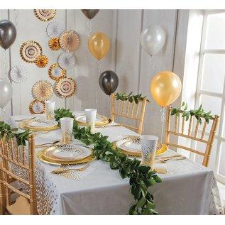 "Disposable Plastic Tablecloth - Gold Polka Dot Confetti  ( Rectangle 54"" x 108"")"