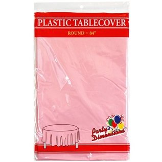 """MISC Disposable Round Plastic Tablecloth - Light Pink ( 84"""" )"""