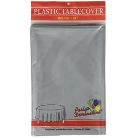 """MISC Disposable Round Plastic Tablecloth - Silver Grey (84"""")"""
