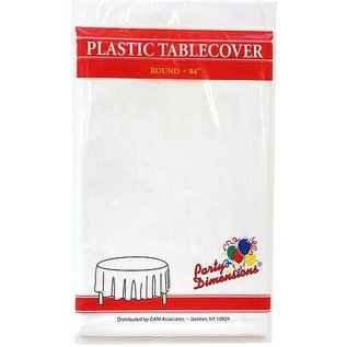 """MISC Disposable Round Plastic Tablecloth - White ( 84"""" )"""