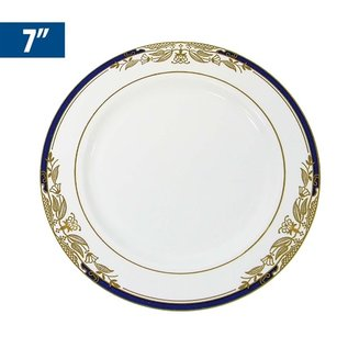 """MISC Disposble Blue Gold Renaissance Dessert Plates 7"""" - 8Pk"""