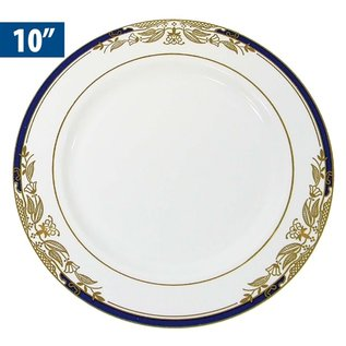 "MISC Disposble Blue Gold Renaissance Dinner Plates 10"" - 8Pk"