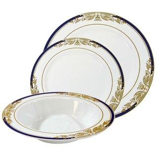 """MISC Disposble Blue Gold Renaissance Soup Bowl 12"""" - 8Pk"""