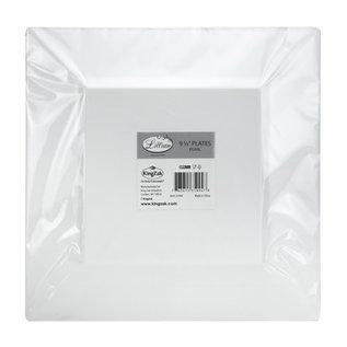 "MISC Disposble White Square Dinner Plates 9.5"" - 10Pk"