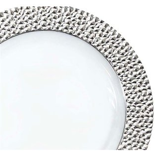 """MISC Royal Collection Silver Rim Hammered Dessert Plates 7""""- 10 Pack"""