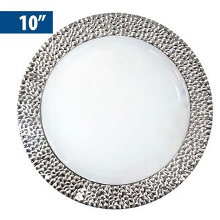 """MISC Royal Collection Silver Rim Hammered Dinner Plates 10""""- 10 Pack"""