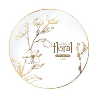 Bluesky Disposable Antique Gold Floral Plates 7.5 inch 10 Count
